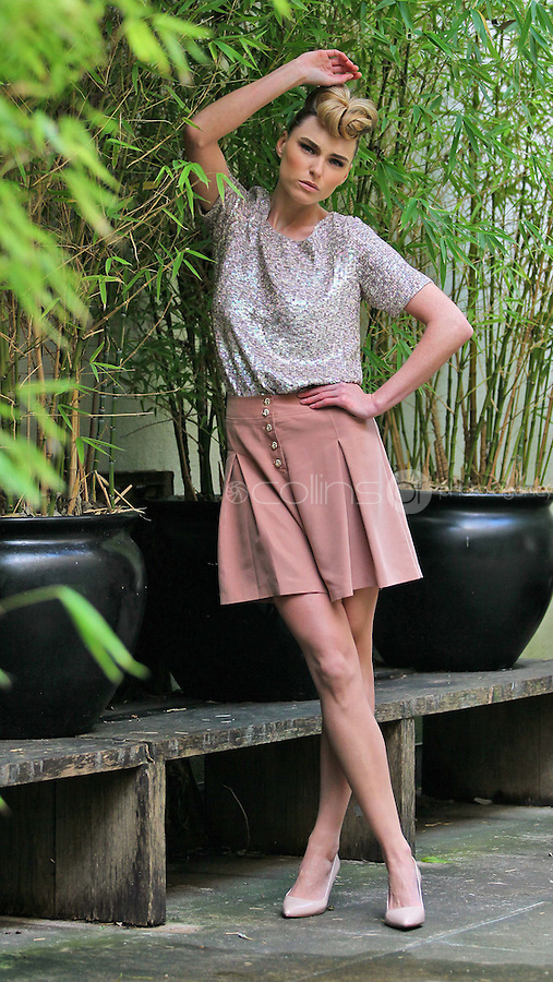 ***NO REPRODUCTION FEE PICTURE***.01/02/12 Model Sarah Morrissey wears a Sequin T-Shirt at EUR80 and Sand Culottes at EUR35 pictured at the Morrison Hotel, Dublin this morning at the launch of the A Wear Spring Collection 2012...Picture Colin Keegan, Collins, Dublin. .***NO REPRODUCTION FEE PICTURE***