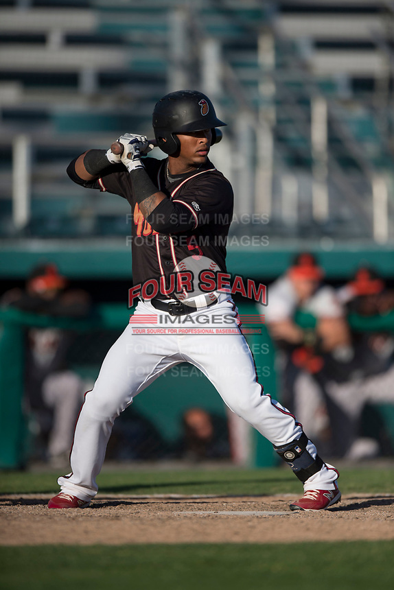Modesto Nuts center fielder Anthony Jimenez (5) at bat during a California League game against the San Jose Giants at John Thurman Field on May 9, 2018 in Modesto, California. San Jose defeated Modesto 9-5. (Zachary Lucy/Four Seam Images)
