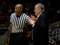 California head coach Mike Montgomery argues with the referee about a bad call during the game against CSUB at Haas Pavilion in Berkeley, California on November 11th, 2012.  California defeated CSUB, 78-65.