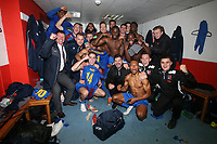 Maldon players celebrate their victory in the changing room during Leyton Orient vs Maldon & Tiptree, Emirates FA Cup Football at The Breyer Group Stadium on 10th November 2019