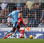 04.08.18 St Mirren v Dundee: Craig Samson takes down Jean Mendy for a penalty
