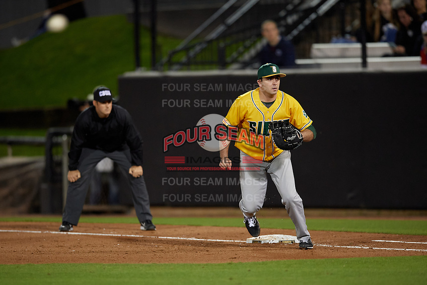 Siena Saints first baseman Jonathan Crimmin (16) during a game against the UCF Knights on February 14, 2020 at John Euliano Park in Orlando, Florida.  UCF defeated Siena 2-1.  (Mike Janes/Four Seam Images)