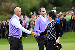 Stewart Cink and Matt Kuchar beat Rory McIlroy and Graeme McDowell on the 18th in Saturday afternoon's foursomes at the 2010 Ryder Cup, Celtic Manor, Newport, Wales, Saturday 2nd October 2010..Picture Manus O'Reilly/www.golffile.ie