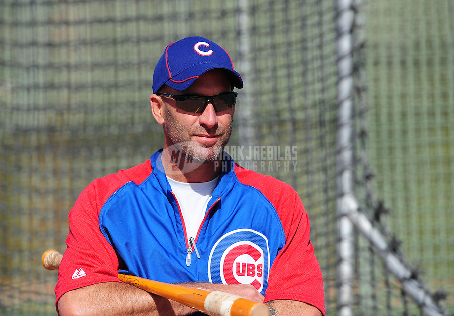 Feb. 29, 2012; Mesa, AZ, USA; Chicago Cubs manager Dale Sveum during spring training workouts at Fitch Park.  Mandatory Credit: Mark J. Rebilas-.