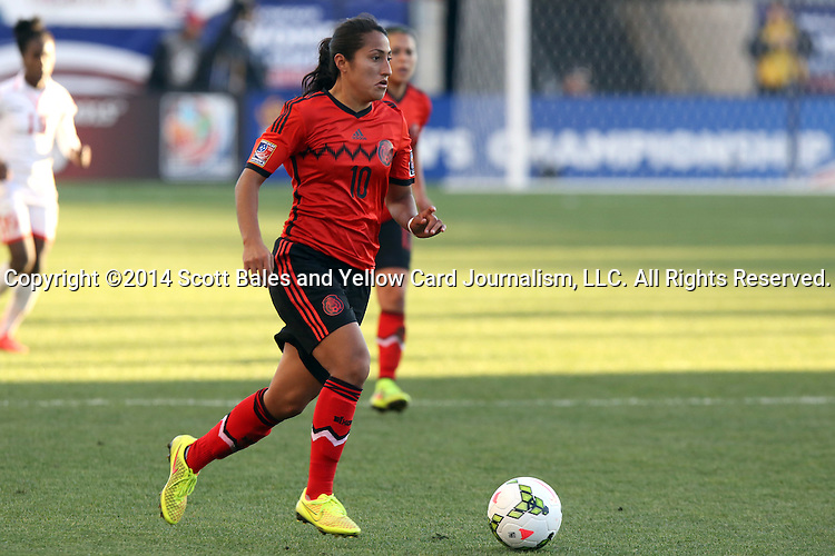 26 October 2014: Sandra Stephany Mayor (MEX). The Trinidad & Tobago Women's National Team played the Mexico Women's National Team at PPL Park in Chester, Pennsylvania in the 2014 CONCACAF Women's Championship Third Place game. Mexico won the game 4-2 after extra time. With the win, Mexico qualified for next year's Women's World Cup in Canada and Trinidad & Tobago face playoff for spot against Ecuador.