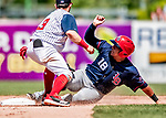 22 July 2018: Louisville Bats catcher Chadwick Tromp steals second during game action against the Syracuse SkyChiefs at NBT Bank Stadium in Syracuse, NY. The Bats defeated the Chiefs 3-1 in AAA International League play. Mandatory Credit: Ed Wolfstein Photo *** RAW (NEF) Image File Available ***