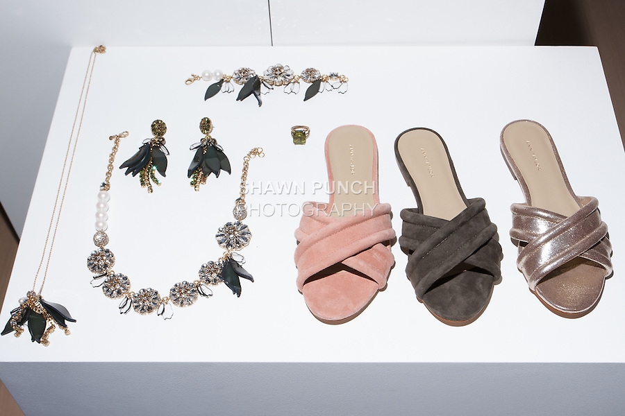 Accessories displayed during the Ann Taylor Spring Summer 2017 fashion presentation by Austyn Zung, at the Ann Taylor showroom in 7 Times Square, New York on October 26, 2016.