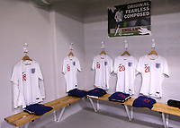 England shirts on display in the dressing room ahead of kick-off during Chile Under-21 vs England Under-20, Tournoi Maurice Revello Football at Stade Parsemain on 7th June 2019