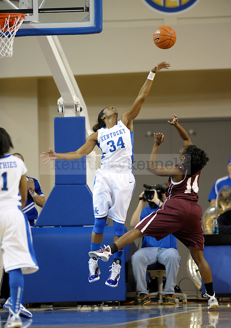 UK's Victoria Dunlap blocks Nesfayia Watkins' shot during the second half of the University of Kentucky Women's basketball game against Alabama A&M at Memorial Coliseum in Lexington, Ky., on 12/18/10. Uk won the game 84-58. Photo by Mike Weaver | Staff