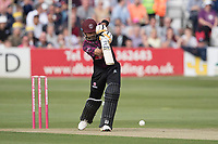 Babar Azam of Somerset CCC drives straight to the field during Essex Eagles vs Somerset, Vitality Blast T20 Cricket at The Cloudfm County Ground on 7th August 2019