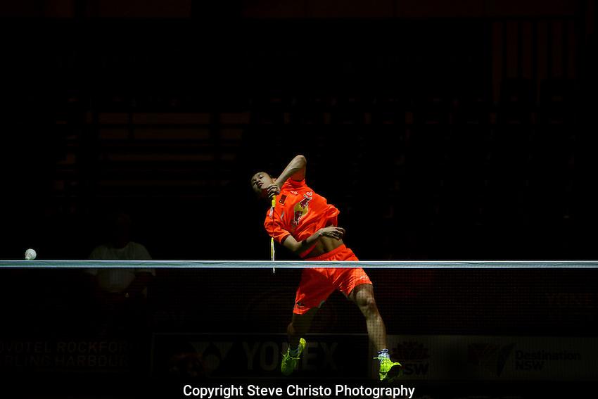 Yonex Australian Badminton Open Sydney 2013. Men's singles qualifying rounds China's Guo Kai v Sung Min Park of Korea at the Convention Centre Darling Harbour. Sydney, Australia. Wednesday, April 3rd 2013. Photo: (Steve Christo).