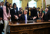 United States President Donald J. Trump makes remarks as he welcomes the 2019 NCAA Division I Women's Basketball National Champions, the Baylor Lady Bears, in the Oval Office of the White House on April 29, 2019 in Washington, DC. <br /> Credit: Oliver Contreras / Pool via CNP