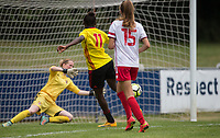 Rinsola Babajide of Watford Ladies scores her goal during the pre season friendly match between Stevenage Ladies FC and Watford Ladies at The County Ground, Letchworth Garden City, England on 16 July 2017. Photo by Andy Rowland / PRiME Media Images.