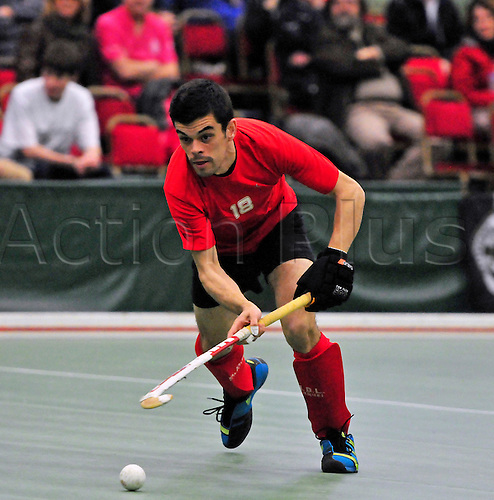 19.02.2012  EuroHockey Indoor Club Trophy, Engage Sports Centre, Napier University, Edinburgh..Finals Day 3. Filipe Ferreira in action for AD Lousada (POR) in their match against Racing Club Bruxelles (BEL)