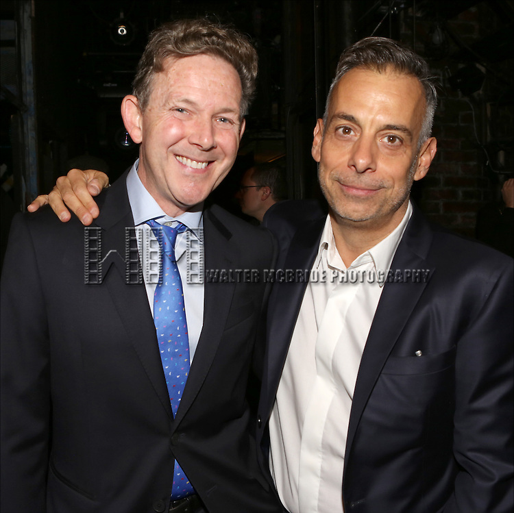 John Logan and Joe Mantello during the Broadway Opening Night Gypsy Robe Ceremony Celebrating Jeremy Davis for 'The Last Ship' at the Neil Simon Theatre on October 26, 2014 in New York City.