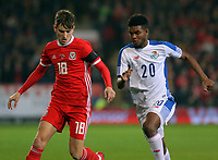 (L-R) David Brooks of Wales chased by Ricardo Avila of Panama during the international friendly soccer match between Wales and Panama at Cardiff City Stadium, Cardiff, Wales, UK. Tuesday 14 November 2017.