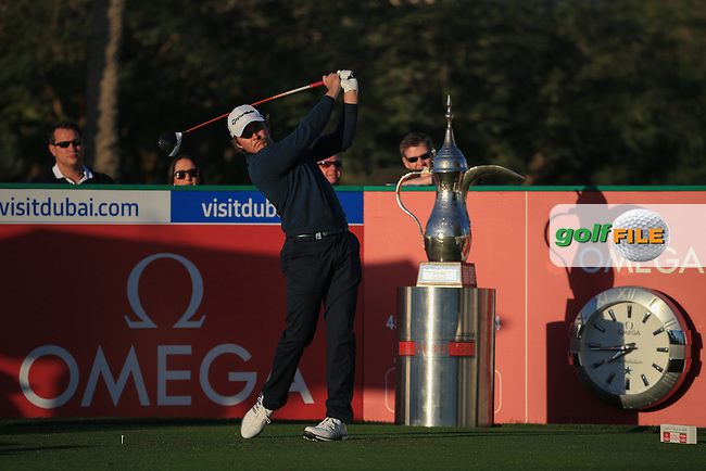 Eddie Pepperell (ENG) starts Round Three of the 2016 Omega Dubai Desert Classic, played on the Emirates Golf Club, Dubai, United Arab Emirates.  06/02/2016. Picture: Golffile | David Lloyd<br /> <br /> All photos usage must carry mandatory copyright credit (&copy; Golffile | David Lloyd)
