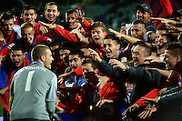 The Serbia team celebrate winning the FIFA Under-20 Football World Cup Final between Brazil (gold) and Serbia at North Harbour Stadium, Albany, New Zealand on Saturday, 20 June 2015. Photo: Dave Lintott / lintottphoto.co.nz