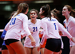 November 22, 2019; Rapid City, SD, USA; Players from Sioux Falls O'Gorman celebrate a point against Huron at the 2019 South Dakota State Volleyball Championships at the Rushmore Plaza Civic Center in Rapid City, S.D. (Richard Carlson/Inertia)