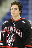 Braden Pimm (Northeastern - 14) - The visiting Northeastern University Huskies defeated the University of Massachusetts-Lowell River Hawks 3-2 with 14 seconds remaining in overtime on Friday, February 11, 2011, at Tsongas Arena in Lowelll, Massachusetts.