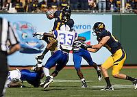 September 17, 2011:  California Marvin Jones fights through Presbyterian defense during a game at AT&T Park, San Francisco, Ca    California Defeated Presbyterian 63 - 12