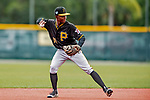 5 March 2019: Pittsburgh Pirates minor league Position Player Edgar Barrios works on infield drills at Pirate City in Bradenton, Florida. Mandatory Credit: Ed Wolfstein Photo *** RAW (NEF) Image File Available ***