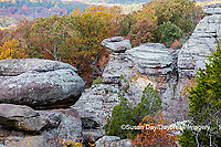 63895-16119 Camel Rock in fall color Garden of the Gods Recreation Area Shawnee National Forest IL