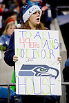 Seattle Seahawks fan cheers against the San Francisco 49ers at  .CenturyLink Field in Seattle, Washington on December 24, 2011.  The 49ers came from behind to beat the Seahawks 19-17. ©2011 Jim Bryant Photo. All Rights Reserved.