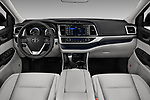 Stock photo of straight dashboard view of 2018 Toyota Highlander Limited-Platinum 5 Door SUV Dashboard
