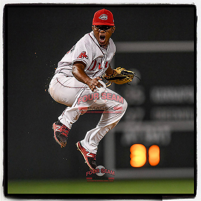 Closer Juan Florentino (37) of the Greenville Drive jumps for joy after securing the final out in an 8-3 win over the Kannapolis Intimidators to earn the 2017 South Atlantic League Championship in Game 4 of the Championship Series on Friday, September 15, 2017, at Fluor Field at the West End in Greenville, South Carolina. It was Greenville's first SAL Championship. Greenville won the series 3-1. (Tom Priddy/Four Seam Images) #MiLB