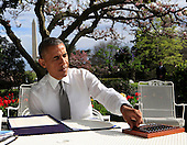 United States President Barack Obama signs the bill H.R. 2 the Medicare Access and the Children's Health Insurance Program Reauthorization Act of 2015 in the Rose Garden of the White House in Washington, DC on April 16, 2015.<br /> Credit: Dennis Brack / Pool via CNP
