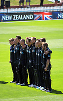 The Black Caps team lines up before the One Day International cricket match between the NZ Black Caps and Pakistan at the Basin Reserve in Wellington, New Zealand on Saturday, 6 January 2018. Photo: Dave Lintott / lintottphoto.co.nz