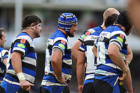 Bath forwards, with poppy symbols on the shoulders. LV= Cup match, between Bath Rugby and Exeter Chiefs on November 17, 2013 at the Recreation Ground in Bath, England. Photo by: Patrick Khachfe / Onside Images