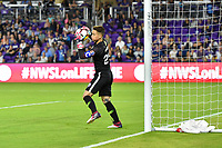 Orlando, FL - Saturday March 24, 2018: Orlando Pride goalkeeper Ashlyn Harris (24) makes a save during a regular season National Women's Soccer League (NWSL) match between the Orlando Pride and the Utah Royals FC at Orlando City Stadium. The game ended in a 1-1 draw.