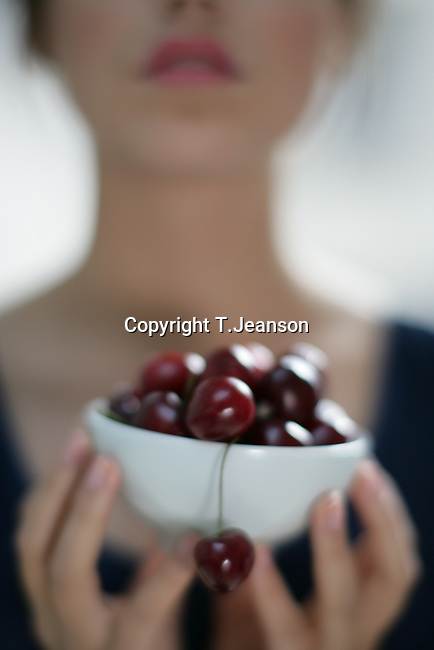 woman with cherry
