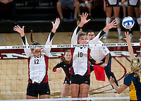 STANFORD, CA - September 2, 2010: Alix Klineman (10) and Stephanie Browne (12) during a volleyball match against UC Irvine in Stanford, California. Stanford won 3-0.
