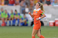 Houston, TX - Sunday Sept. 11, 2016: Kealia Ohai celebrates scoring during a regular season National Women's Soccer League (NWSL) match between the Houston Dash and the Boston Breakers at BBVA Compass Stadium.
