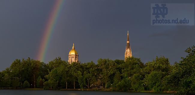 July 2, 2017; Rainbow over St. Mary's Lake. (Photo by Matt Cashore/University of Notre Dame)