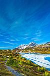 Trail along half frozen Lost Lake with Resurrection Peaks, Chugach National Forest, Kenai Peninsula, Southcentral Alaska, Spring. Vertical.
