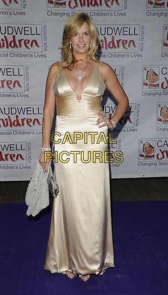 PENNY LANCASTER.Caudwell Childrens Charity 'Butterfly Ball' at the Battersea Evolution, London, England..May 14th, 2009 .full length silk satin gold yellow dress plunging neckline cleavage grey gray clutch bag hand on hip .CAP/CAN.©Can Nguyen/Capital Pictures.