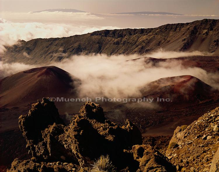 """Fog shrouded Haleakala crater, Maui Haleakala  National Park"