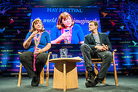 Hay on Wye, UK. Sunday 29 May 2016<br /> Pictured: Bridget Kendall talks to Oliver Bullough<br /> Re: The 2016 Hay festival take place at Hay on Wye, Powys, Wales
