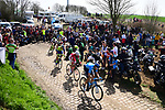 The breakaway group on one of the pave sectors during the 116th edition of Paris-Roubaix 2018. 8th April 2018.<br /> Picture: ASO/Pauline Ballet | Cyclefile<br /> <br /> <br /> All photos usage must carry mandatory copyright credit (&copy; Cyclefile | ASO/Pauline Ballet)
