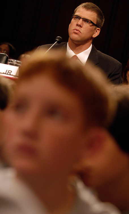 Gary Hall Jr., Olympic Gold Medal Swimmer, testifes with a group a diabetic children at a Senate Homeland Security and Governmental Affairs Committee hearing on juvenile Diabetes....