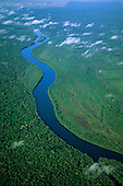 Tocantins River, Brazil. Aerial view of river meandering through rain forest with islands at the curves in the river.