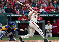 NWA Democrat-Gazette/BEN GOFF @NWABENGOFF<br /> Heston Kjerstad, Arkansas right fielder, hits a single as Saul Garza catches for LSU in the 4th inning Saturday, May 11, 2019, at Baum-Walker Stadium in Fayetteville.