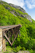 Willey Brook Trestle along the old Maine Central Railroad in Hart's Location, New Hampshire. This trestle is within Crawford Notch State Park. And since 1995 the Conway Scenic Railroad, which provides passenger excursion trains, has been using the track.