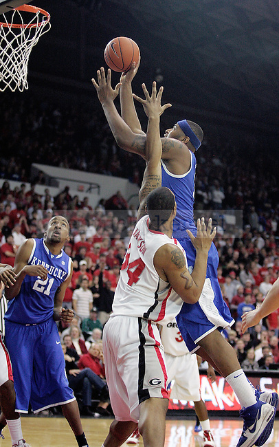 Freshman forward DeMarcus Cousins goes in for a shot in the second half of UK's 80-68 win over Georgia at Stegeman Coliseum  in Athens, GA on Wednesday, March 3, 2010. Photo by Britney McIntosh | Staff
