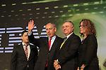 PM Benjamin Netanyahu, Be'er Sheva Mayor Rubik Danilovich, Ben-Gurion University President Prof. Rivka Carmi and IBM Senior Vice President and Group Executive for Software and Systems Steven A. Mills at CyberTech 2014 in Tel Aviv