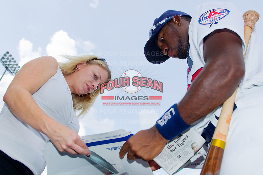 Jackie Bradley Jr. #23 of Team USA signs autographs at Durham Bulls Athletic Park July 18, 2010, in Durham, North Carolina.  Photo by Brian Westerholt / Four Seam Images